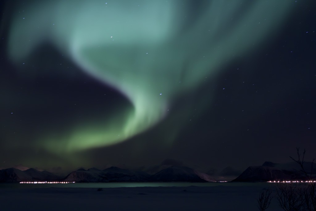 Polarlichter über Andøya in Skandinavien Quelle: https://www.flickr.com/photos/58122391@N03/5342588503/in/photostream/